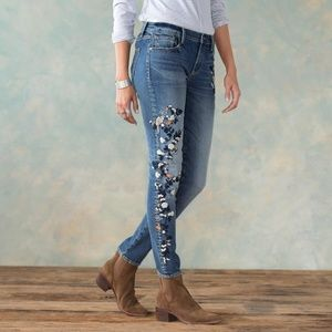 Driftwood Jackie Embroidered Skinny Milan Jeans 26